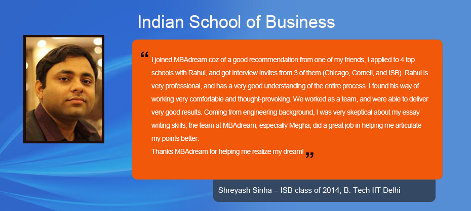 Sample MBA Essay- Indian School of Business (ISB)