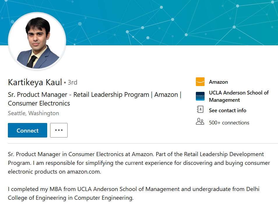 Kartikeya is another www.mbadream.in student who is making a difference at world's largest e-commerce company - Amazon
